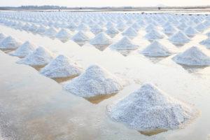 Fleur de Sel in den Salzgärten, geschichtet zu Haufen